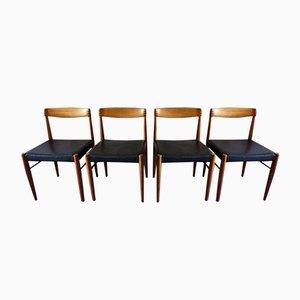Dänische Esszimmerstühle aus Schwarzem Leder, Palisander und Teak von HW Klein für Bramin, 1960er, 4er Set