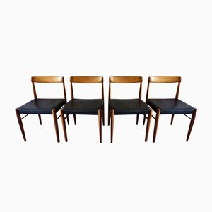Danish Black Leather, Rosewood, and Teak Dining Chairs by H. W. Klein for Bramin, 1960s, Set of 4