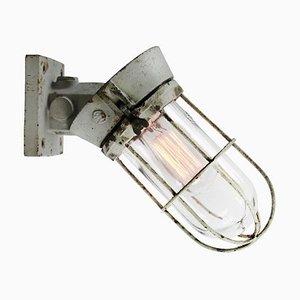 Industrielle Niederländische Vintage Wandlampe aus Grauem Gusseisen und Klarglas