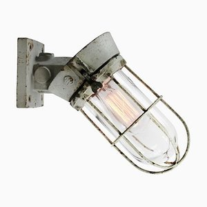 Vintage Industrial Dutch Gray Cast Iron and Clear Glass Sconce