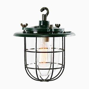 Lampe à Suspension Industrielle Vintage en Fonte Verte et en Verre Transparent, Pays-Bas