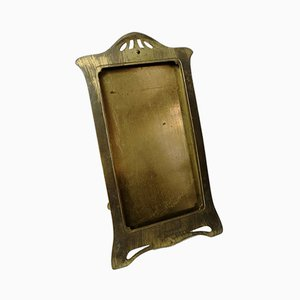 Antique Art Nouveau Standing Brass Picture Frame, 1900s