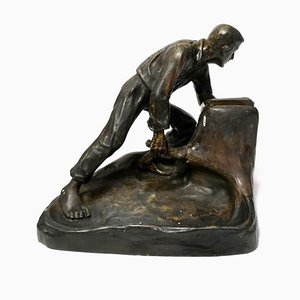 Bronze Matchbox Holder of Ploughman Working the Fields, 1920s