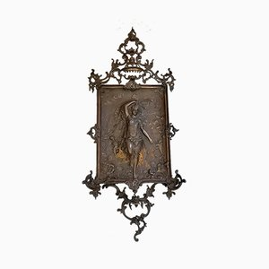 Large Antique Baroque Wall Mounted Cast Iron Decoration, 1890s