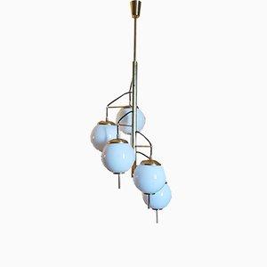 Italian Spiral 5-Light Ceiling Lamp, 1960s
