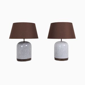 Postmodern Black and White Speckled Ceramic Table Lamps with Brown Shades, 1980s, Set of 2
