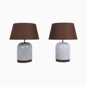 Postmoderne schwarz-weiß gesprenkelte Tischlampen aus Keramik mit braunen Schirmen, 1980er, 2er Set