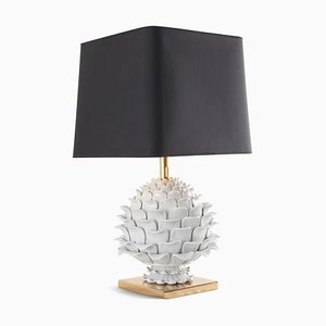 Ceramic and Brass Artichoke Table Lamp, 1950s