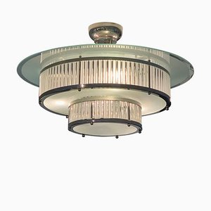 Art Deco Style Ceiling Lamp Model Diva in Glass and Chrome