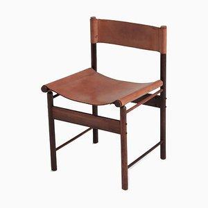 Mid-Century Esszimmerstühle aus Jacaranda und Cognacfarbenem Sattelleder von Jorge Zalszupin, 4er Set