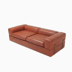 Vintage Minimalist Model 711 Cognac Leather Sofa by Tito Agnoli for Cinova, 1960s