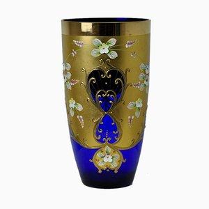 Vase en Verre Bleu Cobalt de Slavia Glassworks, 1990s