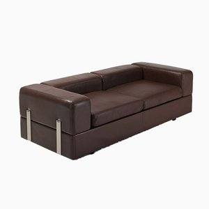 Vintage Brown Leather Nr. 711 Sofa by Tito Agnoli for Cinova, 1970s