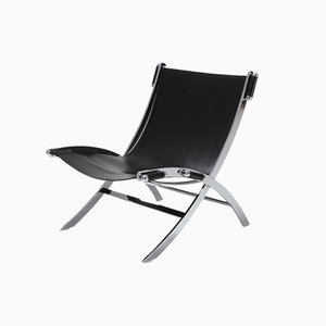 Vintage Chrome and Black Leather Lounge Chair by Paul Tuttle for Flexform, 1980s