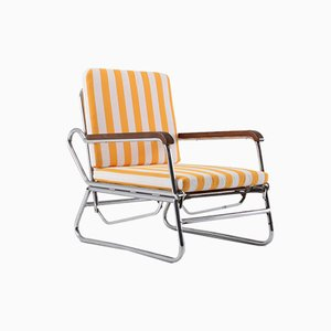Vintage Tubular Chrome Lounge Chair, 1950s