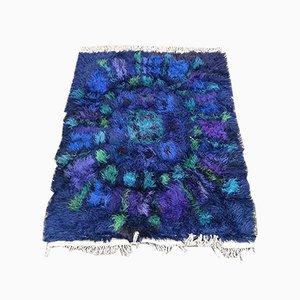 Blauer Floraler Italienischer Wollteppich, 1970er
