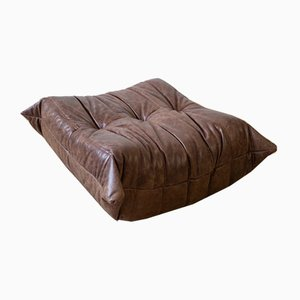 Vintage Brown Leather Togo Ottoman by Michel Ducaroy for Ligne Roset