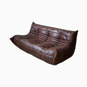 Braunes Vintage 3-Sitzer Togo Ledersofa von Michel Ducaroy für Ligne Roset