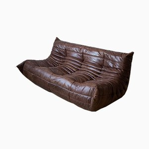 Vintage Brown Leather 3-Seater Togo Sofa by Michel Ducaroy for Ligne Roset