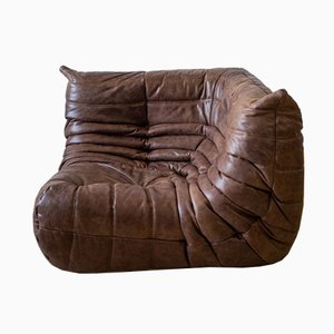 Vintage Brown Leather Togo Corner Sofa by Michel Ducaroy for Ligne Roset