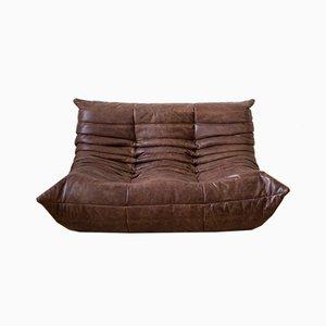 Sofá de dos plazas Togo vintage de cuero marrón de Michel Ducaroy para Ligne Roset