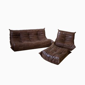 Vintage Brown Leather Togo Living Room Set by Michel Ducaroy for Ligne Roset, Set of 3
