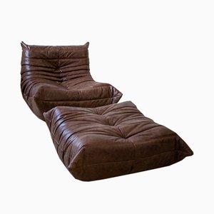 Juego de sillón y otomana Togo vintage de cuero marrón de Michel Ducaroy para Ligne Roset. Juego de 2