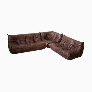 Brown Leather Togo Living Room Set by Michel Ducaroy for Ligne Roset, 1970s, Set of 3