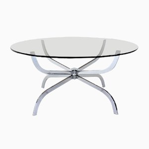 Mid-Century Round Spider Coffee Table with Smoked Glass Top from Belgo Chrome