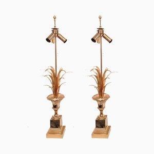 Messing und Chrom Tischlampen von Maison Charles, 1970er, 2er Set