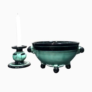Keramikschale und Kerzenständer von Ilse Claeson für Rörstrand, 1930er