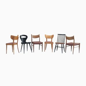 Vintage Mismatched Dining Chairs, 1960s, Set of 6