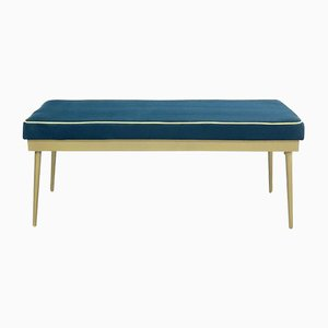 Mid-Cenntury Iron and Velvet Bench, 1950s