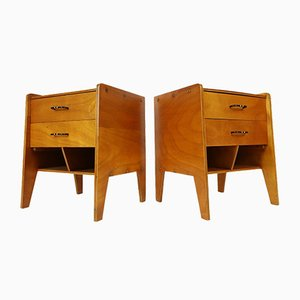 French Modernist Nightstands in the Style of Jacques Hitier, Gascoin, 1950s, Set of 2