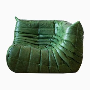 Vintage Green Leather Togo Corner Sofa by Michel Ducaroy for Ligne Roset