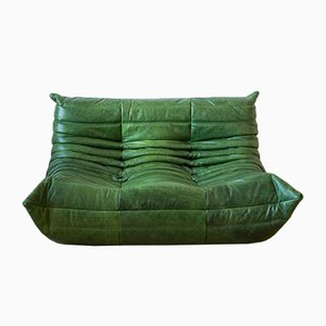 Vintage Green Leather 2-Seater Togo Sofa by Michel Ducaroy for Ligne Roset