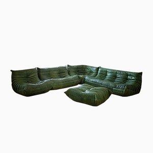 Set de Salon Togo en Cuir Vert par Michel Ducaroy pour Ligne Roset, 1979, Set de 5