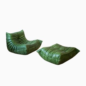 Vintage Green Leather Togo Lounge Chair and Ottoman Set by Michel Ducaroy for Ligne Roset, Set of 2