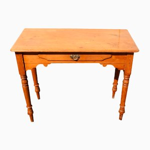 Antique Country Pine Side Table with Drawer