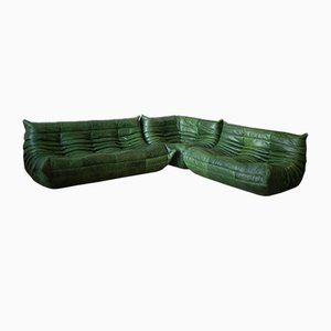 Green Leather Togo Living Room Set by Michel Ducaroy for Ligne Roset, 1970s, Set of 3