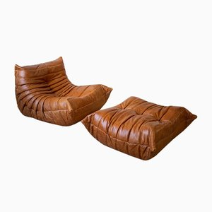 Vintage Pine Leather Togo Lounge Chair and Ottoman Set by Michel Ducaroy for Ligne Roset, Set of 2