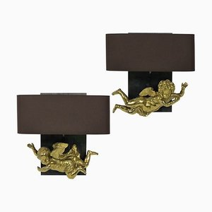 Antique Gilt Brass Cherub Sconces, Set of 2