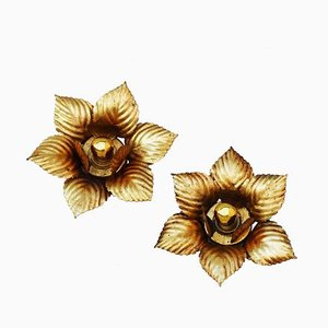 Hollywood Regency Gilded Tôle Leaf Sconces, 1960s, Set of 2