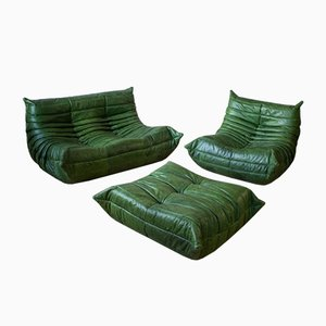 Mobilier de Salon Togo Vintage en Cuir Vert par Michel Ducaroy pour Ligne Roset, Set de 3