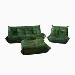 Vintage Togo Wohnzimmerset aus grünem Leder von Michel Ducaroy für Ligne Roset, 3er Set