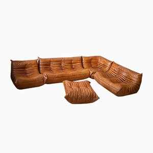 Pine Leather Togo Living Room Set by Michel Ducaroy for Ligne Roset, 1979, Set of 5