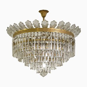 Vintage Empire Style Ceiling Lamp with Crystals and Glass Leaves, 1930s