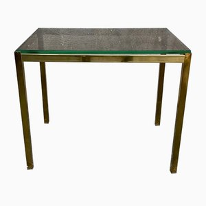Italian Modern Brass and Smoke Glass Side Table, 1970s