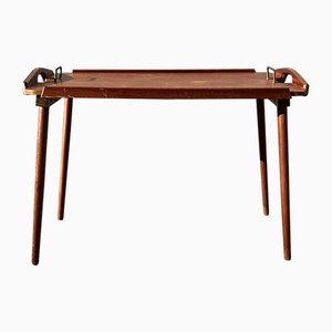 Mid-Century Oak and Teak Foldable Tray Table by Bendt Winge for Aase Dreieri, 1960s