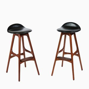 Scandinavian Modern Teak, Rosewood & Black Leather Barstools by Erik Buch for Oddense Maskinsnedkeri / O.D. Møbler, 1960s, Set of 2